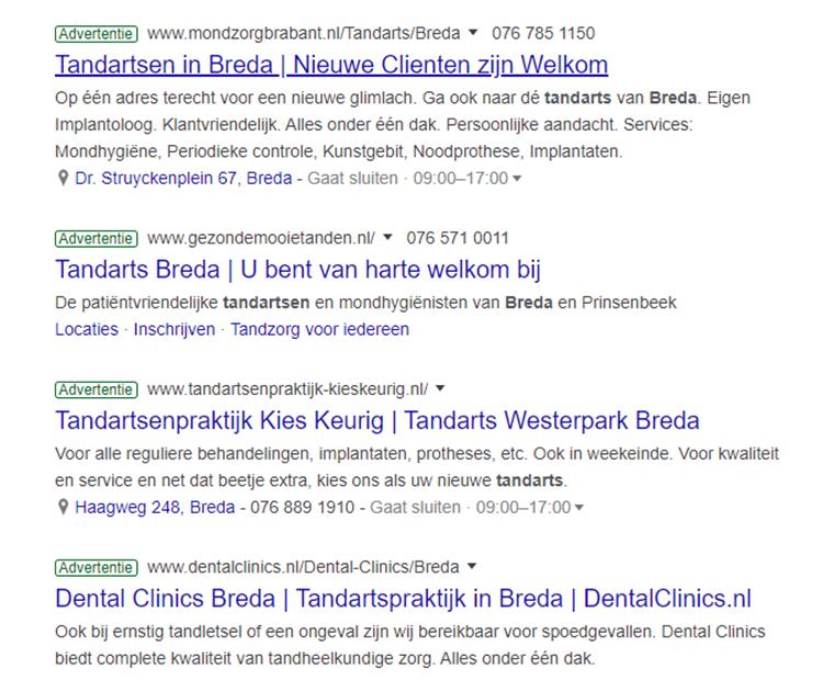 Google Ads tandarts Breda