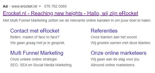 Sitelink extensie Google Ads